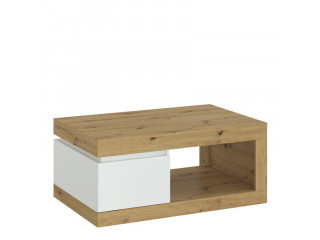 LUCI - 1 drawer coffee table in White and Oak.W 1100 x H 503 x D 700 mm, FREE UK DELIVERY
