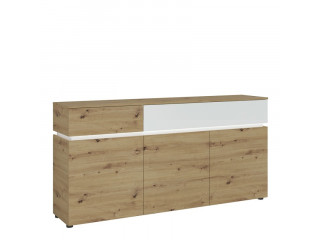 LUCI - 3 doors 2 drawers sideboard (inc. LED lighting) in White and Oak.W 1805 x H 901 x D 400 mm, FREE UK DELIVERY