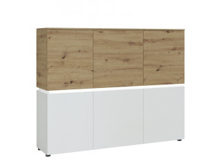 LUCI - 6 door cabinet (including LED lighting) in White and Oak. W 1655 x H 1315 x D 400 mm, FREE UK DELIVERY