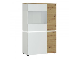 LUCI - Luci 4 doors low display cabinet (incl. LED lighting) in White and Oak. W 904 x H 1460 x D 400 mm, FREE UK DELIVERY