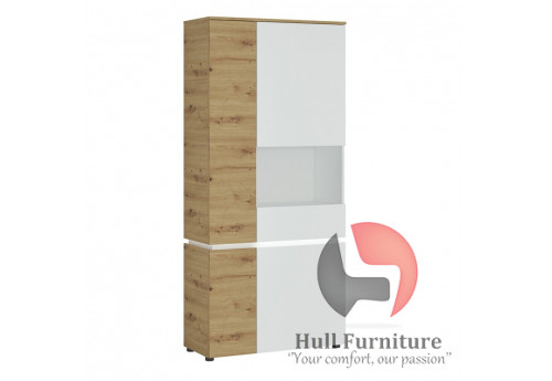 LUCI - 4 door tall display cabinet RH (including LED lighting) in White and Oak. W 904 x H 1990 x D 400 mm, FREE UK DELIVERY