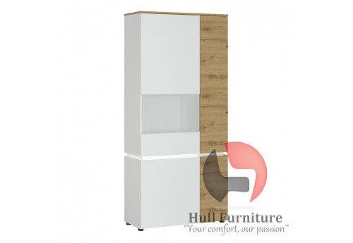 LUCI - 4 door tall display cabinet LH (including LED lighting) in in White and Oak. W 904 x H 1990 x D 400 mm, FREE UK DELIVERY