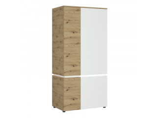 LUCI - 4 door wardrobe (including LED lighting) in White and Oak. W 954 x H 1990 x D 580 mm, FREE UK DELIVERY