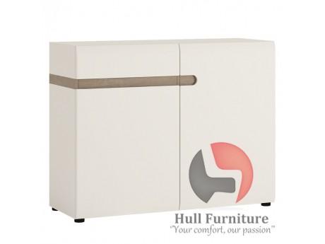 Abbie- 1 drawer 2 door sideboard in white with an Truffle Oak trim.