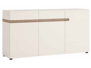 Abbie- 1 drawer 2 door sideboard in white high gloss MDF with an Truffle Oak trim.