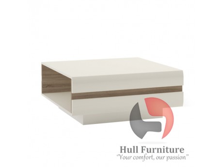 Abbie- Coffee Table in white high gloss MDF with an Truffle Oak trim.