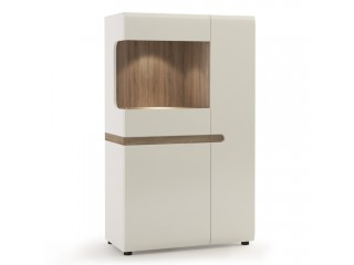 Abbie - Low Display Cabinet 85 cm wide in white with an Truffle Oak Trim