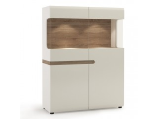 Abbie - Low Display Cabinet 109 cm wide in white high gloss MDF with an Truffle Oak trim.