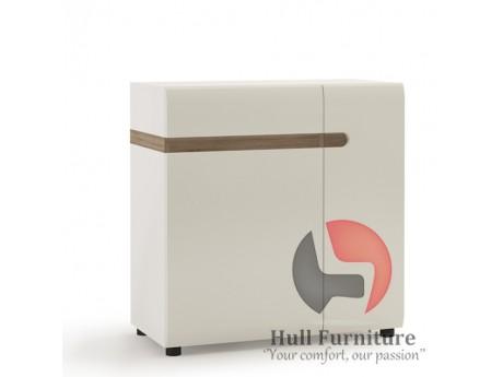 Abbie - 1Drawer 2 Door Sideboard 85 cm Wide in white with an Truffle Oak TrimOak Trim