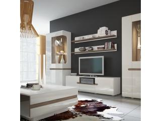 KOMODA RTV - Low Display Cabinet 109 cm wide in white high gloss MDF with an Truffle Oak trim. - Kolekcja Abbie Meble