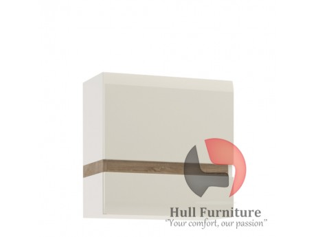 1 Door Wall Cupboard in white with an Truffle Oak Trim high gloss MDF with an Truffle Oak trim.