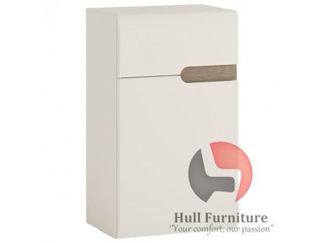 Abbie- 1 Door  Cupboard (LH Door) in white with an Truffle Oak Trim.