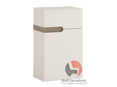 Abbie- 1 Door  Cupboard (PH Door) in white with an Truffle Oak Trim.