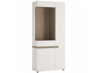 Tall Glazed Wide Display unit (RHD) in white with an Truffle Oak Trim in white high gloss MDF with an Truffle Oak trim.