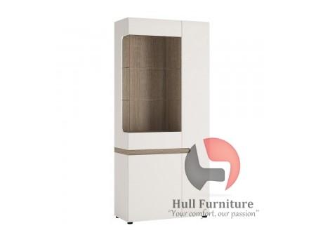 Tall Glazed Wide Display unit (RHD) in white with an Truffle Oak Trim in white high gloss MDF with an Truffle Oak trim.