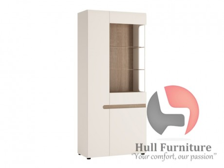 Abbie   Tall Glazed Wide Display Unit (LHD) In White With An Truffle Oak  Trim