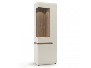 Abbie - Tall Glazed Narrow Display unit (RHD) in white with an Truffle Oak Trim