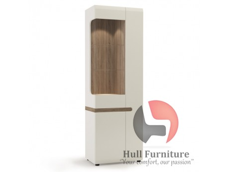 Tall Glazed narrow Display unit (RHD) in white with an Truffle Oak Trim in white high gloss MDF with an Truffle Oak trim.