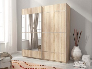 MIKA IV 150cm or 200cm - Oak Sonoma  - Sliding door wardrobe with mirror