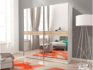 MIKA V 150cm or 200cm - White  - Sliding door wardrobe with mirror