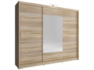 Victoria ALU 250cm - FREE LED LIGHT - Oak sonoma - Sliding door wardrobe with mirror