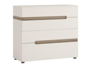Abbie - 4 drawer chest in white with an Truffle Oak Trim