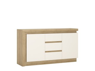 Lyon 2 door 3 drawer sideboard in Riviera Oak/White High Gloss Size W 1576 x H 891 x D 420 mm