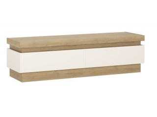Lyon 2 drawer TV cabinet in Riviera Oak/White High Gloss Size W 1460 x H 417 x D 420 mm