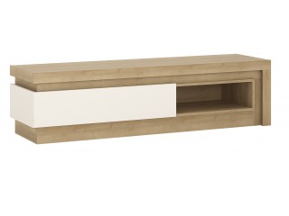 Lyon 1drawer TV cabinet in Riviera Oak/White High Gloss Size W 1300x H 417 x D 420 mm