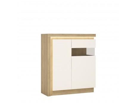 Lyon 2 door designer cabinet (RH) in Riviera Oak/White High Gloss Size W 1075 x H 1236 x D 420 mm