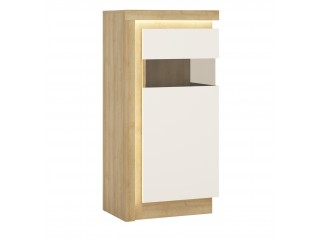 Lyon Narrow display cabinet (RHD) 123.6cm high in Riviera Oak/White High Gloss