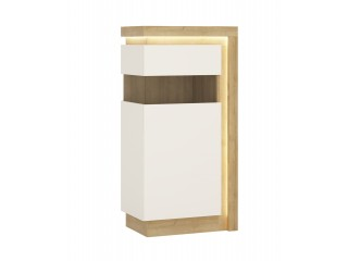 Lyon Narrow display cabinet (LHD) 123.6cm high in Riviera Oak/White High Gloss