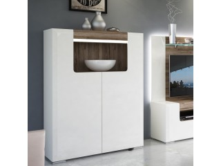Toronto Low 2 Door cabinet with open shelf, FREE UK DELIVERY