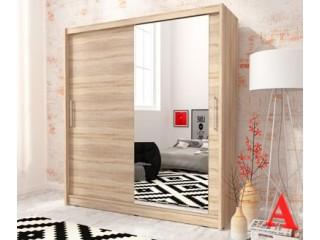 MAJA I 200cm - Oak sonoma - Sliding door wardrobe with mirror