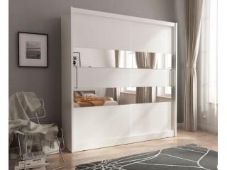 MAJA II 200cm - White - Sliding door wardrobe with mirror