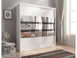 MAJA V 200cm - White - Sliding door wardrobe with mirror