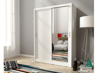 MAJA 150cm - White - Sliding door wardrobe with mirror