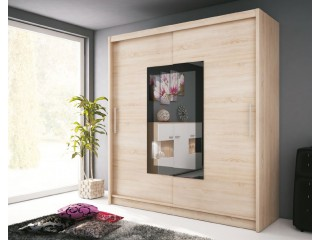 VICTORIA II 180cm - Oak sonoma - Sliding door wardrobe with mirror