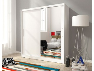 MAJA I 180 cm - White - Sliding door wardrobe with mirror
