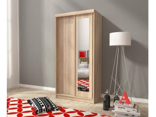ALASKA 100 cm - Oak sonoma + Oak sonoma chocolate - Sliding door wardrobe with mirror