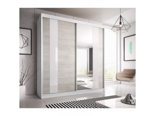 HEAVEN 233cm sliding doors wardrobe with mirror 4 body colours available W 233cm x H218cm x D61cm