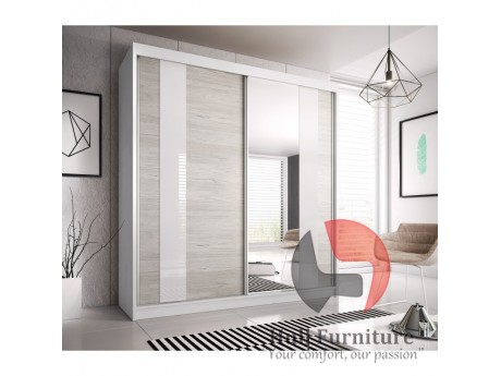 HEAVEN 233cm sliding doors wardrobe with mirror 4 body colours available W 233cm x H218cm x D61cm
