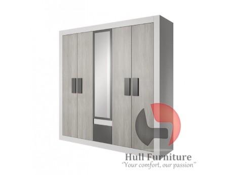 HEAVEN 231cm - 5 doors wardrobe with mirror W 231cm x H210cm x D57cm