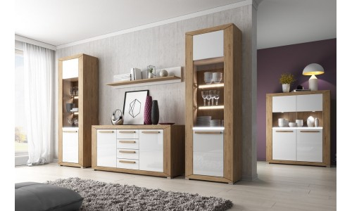 Lisa - Beaufort Oak and White Gloss fronts