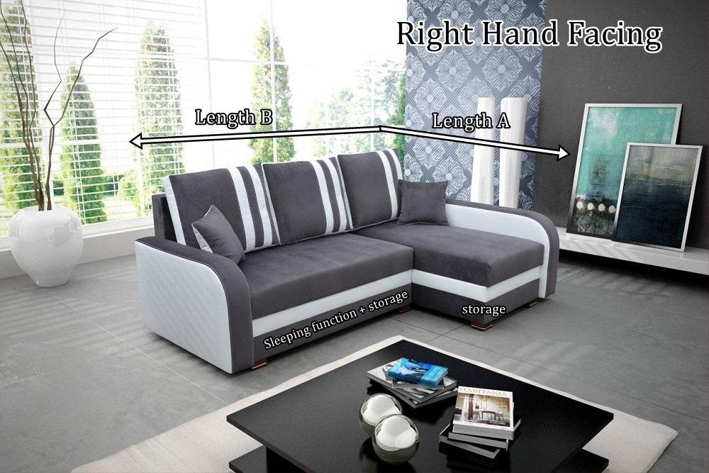 Natalie Corner Sofa Bed With Bedding Storage Sleep Function Elastic Foam Head Rests