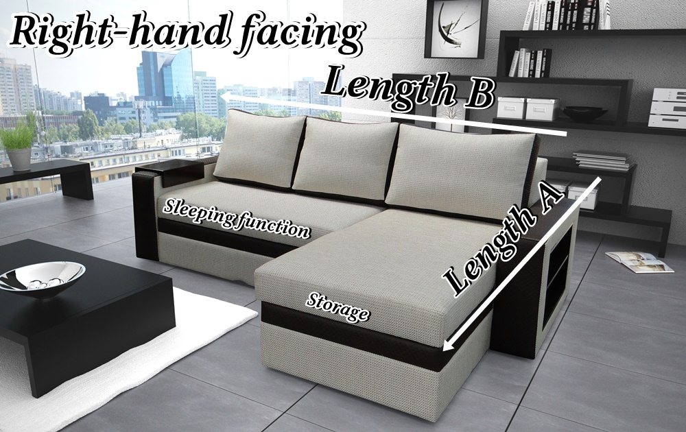 Olia Corner Sofa Bed With Bedding Storage Sleep Function Made To Measure Head Rests