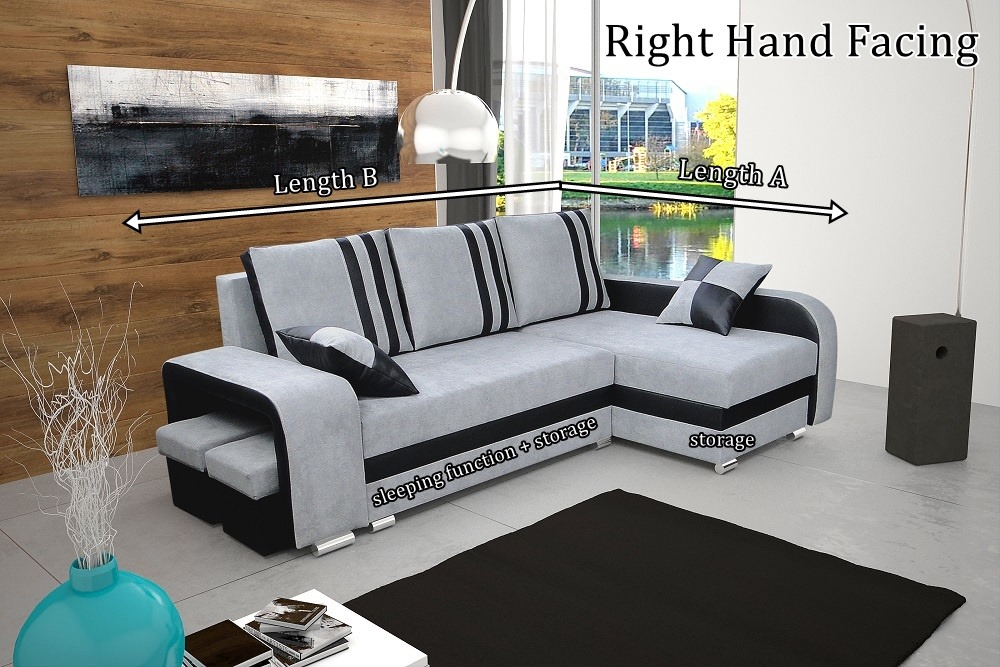 Nathan Corner Sofa Bed With Bedding Storage Sleep Function Elastic Foam Head Rests Made To Measure